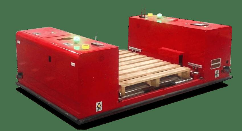 AGV s valčekovým dopravníkom, automatizované prekladanie bremena
