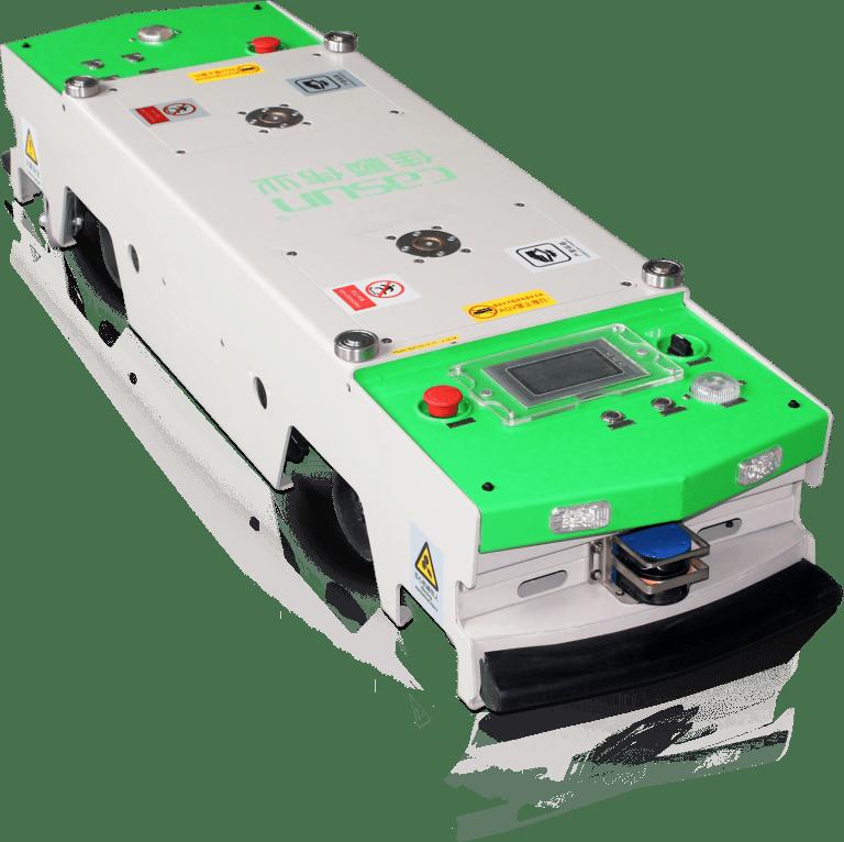 AGV tunelový resp. podbiehací model, bremeno umiestnené v transportnom vozíku