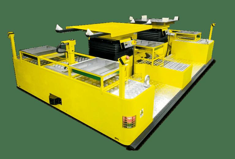 AGV pre montážne operácie, špeciálna úprava s možnosťou rôznych plošín a doplnkových funkcií